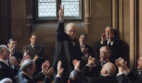 "This image released by Focus Features shows Gary Oldman as Winston Churchill in a scene from ""Darkest Hour."" (Jack English/Focus Features via AP)"