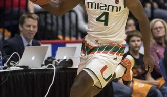 Miami's Lonnie Walker IV brings the ball up the court during the first half of an NCAA college basketball game against La Salle, Wednesday, Nov. 22, 2017, in Reading, PA. (AP Photo/Chris Szagola)