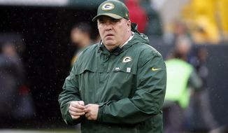 FILE - In this Oct. 22, 2017, file photo, Green Bay Packers head coach Mike McCarthy walks around the field as his players warm up before an NFL football game against the New Orleans Saints in Green Bay, Wis. At 5-5 and going into a tough prime-time game on Sunday at Pittsburgh, the Green Bay Packers find themselves in a hole similar to their 4-6 start to last season. (AP Photo/Mike Roemer, File)