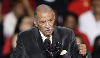 In this Nov. 1, 2014, file photo, Rep. John Conyers, D-Mich., speaks at Wayne State University in Detroit. (AP Photo/Carlos Osorio, File)