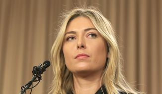 In this Monday, March 7, 2016, file photo, tennis star Maria Sharapova speakings during a news conference in Los Angeles. Sharapova is being investigated by police in India in a cheating and criminal conspiracy case involving a real estate company who used the tennis star to endorse a luxury housing project that never took off. (AP Photo/Damian Dovarganes, File)