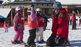This undated photo provided by Stowe Mountain Resort in Stowe, Vt., shows an instructor with young children in a ski lesson. Kids differ in their readiness and learning styles when it comes to learning to ski, but experts say the most important thing for parents to consider is making the experience fun. (Dave Schmidt/Stowe Mountain Resort via AP)