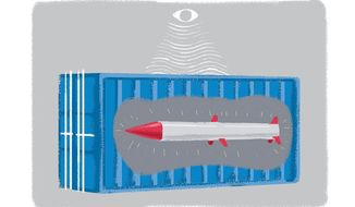 Illustration on port security by Linas Garsys/The Washington Times
