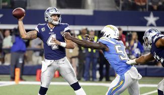 Dallas Cowboys quarterback Dak Prescott (4) throws a pass under pressure from Los Angeles Chargers linebacker Melvin Ingram (54) in the second half of an NFL football game, Thursday, Nov. 23, 2017, in Arlington, Texas. (AP Photo/Michael Ainsworth)