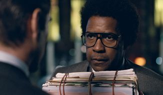"This image released by Sony Pictures shows Denzel Washington in a scene from ""Roman J. Israel, Esq."" (Sony Pictures via AP)"