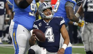 Los Angeles Chargers' Brandon Mebane, left, and Tenny Palepoi, right, celebrate sacking Dallas Cowboys' Dak Prescott (4) in the first half of an NFL football game, Thursday, Nov. 23, 2017, in Arlington, Texas. (AP Photo/Michael Ainsworth)