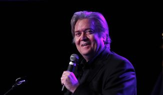 In this Nov. 8, 2017, file photo, Steve Bannon, the former chief strategist to President Donald Trump, speaks at the Macomb County Republican Party dinner in Warren, Mich. As Bannon drafts his team of challengers to the old guard, the new guard is increasingly aligned not by ideology, but by their history of support for the president. Republicans who have criticized the president's more controversial statements, or have been slow to embrace him, are out. (AP Photo/Paul Sancya)