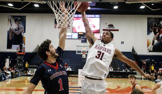 Harvard forward Seth Towns, right, goes to the basket while defended by Saint Mary's center Jordan Hunter during the first half of an NCAA college basketball game at the Wooden Legacy tournament Thursday, Nov. 23, 2017, in Fullerton, Calif. (AP Photo/Ringo H.W. Chiu)