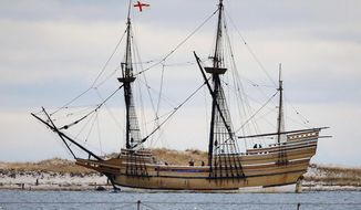 FILE - In this Dec. 12, 2014 file photo, the Mayflower II, a replica of the original ship that brought Pilgrims to Massachusetts in 1620, passes a jetty as it is towed out of Plymouth Harbor in Plymouth, Mass. Restoration of the ship continues in November 2017, at the Henry B. duPont Preservation Shipyard at Connecticut's Mystic Seaport. It is expected to be completed in 2019. (AP Photo/Stephan Savoia, File)