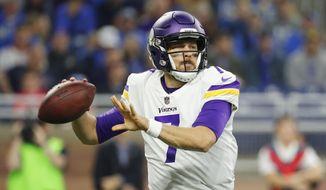 Minnesota Vikings quarterback Case Keenum throws during the first half of an NFL football game against the Detroit Lions, Thursday, Nov. 23, 2017, in Detroit. (AP Photo/Rick Osentoski)