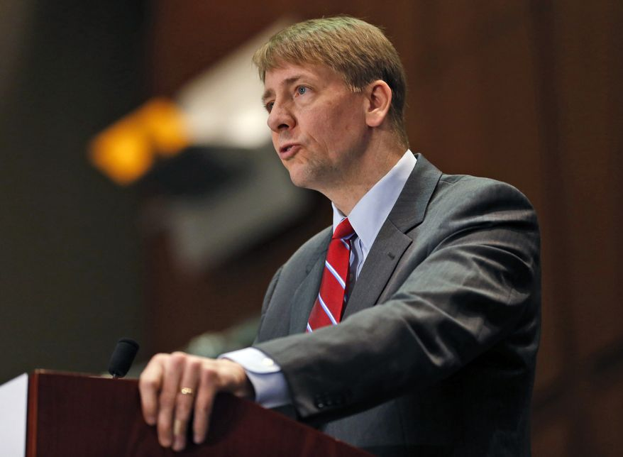 FILE - In this March 26, 2015, file photo, Consumer Financial Protection Bureau Director Richard Cordray speaks during a panel discussion in Richmond, Va. Cordray, the first director of the Consumer Financial Protection Bureau, tendered his resignation Friday, Nov. 24, 2017, and simultaneously named his own successor, setting up the consumer agency for another battle with the Trump White House over control of the powerful federal watchdog. (AP Photo/Steve Helber, File)