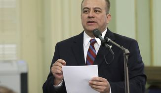 FILE - This Thursday, May 4, 2017 file photo Assemblyman Raul Bocanegra, D-Pacoima, speaks at the Capitol, in Sacramento, Calif. Two sitting lawmakers face public accusations of harassment, Bocanegra and Sen. Tony Mendoza, both Los Angeles-area Democrats. Bocanegra was disciplined for sexual harassment in 2009, when he was an Assembly chief of staff. He apologized, but the Los Angeles Times has since revealed six other women are accusing him of behavior including groping and other unwanted advances, including one alleged incident when he was in office. (AP Photo/Rich Pedroncelli,File)