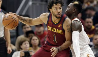 FILE - In this Nov. 5, 2017, file photo, Cleveland Cavaliers' Derrick Rose, left, drive against Atlanta Hawks' Dennis Schroder (17), from Germany, in the first half of an NBA basketball game in Cleveland. Rose has left the Cavaliers to attend to a personal matter, a team spokesman said Friday, Nov. 24, 2017. (AP Photo/Tony Dejak, File)