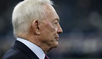 Dallas Cowboys team owner Jerry Jones watches team warm ups before an NFL football game against the Los Angeles Chargers on Thursday, Nov. 23, 2017, in Arlington, Texas. (AP Photo/Ron Jenkins)