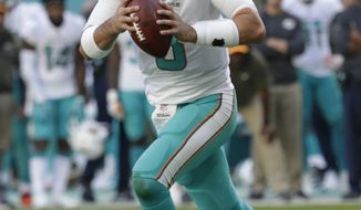 FILE - In this Sunday, Nov. 19, 2017, file photo, Miami Dolphins quarterback Matt Moore (8) looks to pass the ball during the second half of an NFL football game against the Tampa Bay Buccaneers, in Miami Gardens, Fla. The New England Patriots have won six straight and are again the team to beat in the AFC East. They will play five of their final six games against division opponents. First up is the Dolphins, on Sunday, Nov. 26, who have lost four straight and may have to give Moore his second start this season at quarterback with Jay Cutler in the concussion protocol. (AP Photo/Lynne Sladky, File)