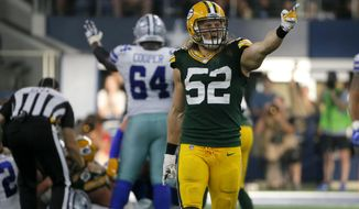 In this Sunday, Oct. 8, 2017 file photo, Green Bay Packers' Clay Matthews (52) celebrates during an NFL football game against the Dallas Cowboys in Arlington, Texas. The Pittsburgh Steelers will try to keep a hold of the top spot in the AFC when they host struggling Green Bay. Pittsburgh has ripped off five straight wins and is closing in on a second straight AFC North title. Green Bay is just 1-3 since Aaron Rodgers went down with a broken collarbone, putting its streak of eight consecutive playoff berths in serious jeopardy. (AP Photo/Roger Steinman, File)