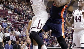 Texas A&M guard Admon Gilder (3) and Pepperdine forward Nolan Taylor (31) battle for a rebound during the first half of an NCAA college basketball game Friday, Nov. 24, 2017, in College Station, Texas. (AP Photo/Michael Wyke)