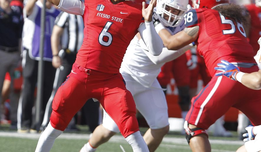 Fresno State's quarterback Marcus McMaryion drops back to pass against Boise State during the first half of an NCAA college football game in Fresno, Calif., Saturday, Nov. 25 2017. (AP Photo/Gary Kazanjian)