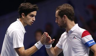 France's Richard Gasquet, right, and Pierre-Hugues Herbert celebrate after winning a point as they play Belgium's Ruben Bemelmans and Joris De Loore during their Davis Cup final double match at the Pierre Mauroy stadium in Lille, northern France, Saturday, Nov. 25, 2017. (AP Photo/Michel Spingler)