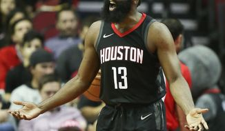 Houston Rockets guard James Harden argues a call during the first half of an NBA basketball game against the New York Knicks, Saturday, Nov. 25, 2017, in Houston. (AP Photo/Eric Christian Smith)