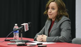 Julie Cromer Peoples, interim athletic director for the University of Arkansas, talks about the decision to fire Arkansas coach Bret Bielema following a Razorbacks NCAA college football game against Missouri, Friday, Nov. 24, 2017, in Fayetteville, Ark. (AP Photo/Michael Woods)