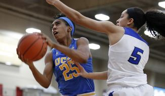 UCLA forward Monique Billings, left, grabs a rebound over Creighton forward Jaylyn Agnew during the first half of an NCAA college basketball game Saturday, Nov. 25, 2017, in Las Vegas. (AP Photo/John Locher)