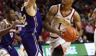 Iowa State guard Nick Weiler-Babb drives past Western Illinois guard Jeremiah Usiosefe, left, during the first half of an NCAA college basketball game, Saturday, Nov. 25, 2017, in Ames, Iowa. (AP Photo/Charlie Neibergall)