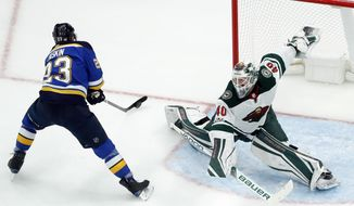 St. Louis Blues' Dmitrij Jaskin, of Russia, scores past Minnesota Wild goalie Devan Dubnyk, right, during the first period of an NHL hockey game Saturday, Nov. 25, 2017, in St. Louis. (AP Photo/Jeff Roberson)