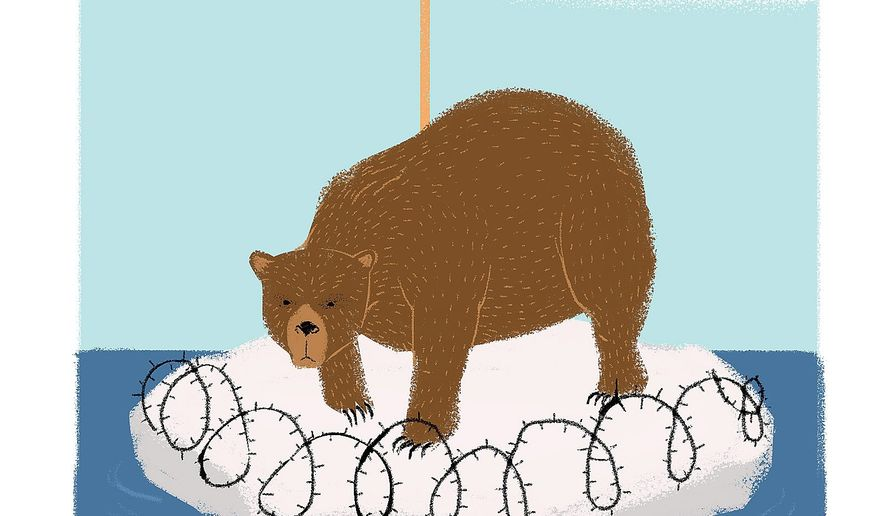 Illustration on Russia's Artic claims by Linas Garsys/The Washington Times