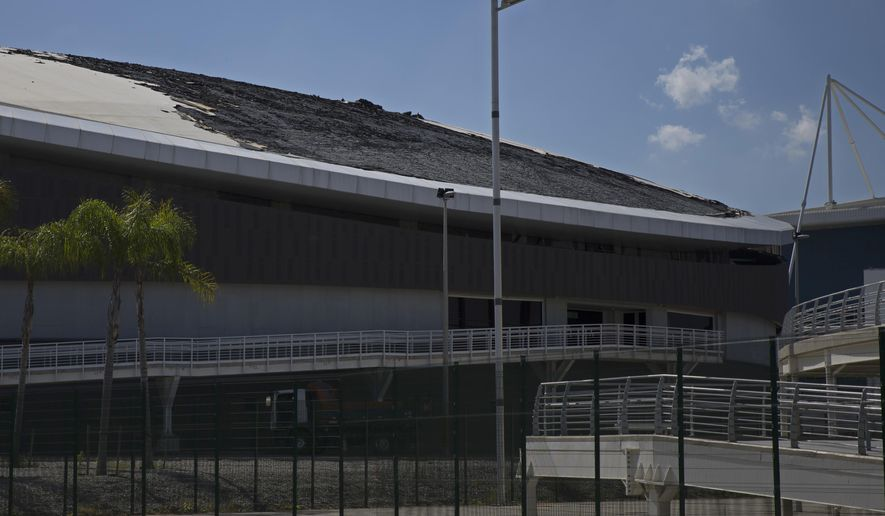 """FILE - This July 30, 2017 file photo shows the charred roof of the velodrome after a fire at the Olympic Park, in Rio de Janeiro, Brazil. For the second time this year, a small hot-air balloon — also known as a """"lantern"""" — has set fire to the velodrome Sunday, Nov. 26, built for last year's Rio de Janeiro Olympics. (AP Photo/Renata Brito, File)"""