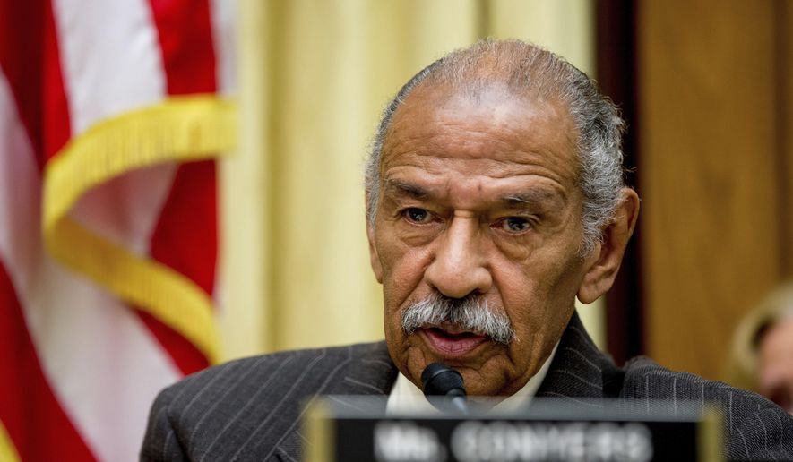 In this May 24, 2016, file photo, Rep. John Conyers, D-Mich., ranking member on the House Judiciary Committee, speaks on Capitol Hill in Washington during a hearing. Conyers said he is stepping aside as the top Democrat on the House Judiciary Committee amid a congressional investigation into allegations he sexually harassed female staff members. (AP Photo/Andrew Harnik, File)
