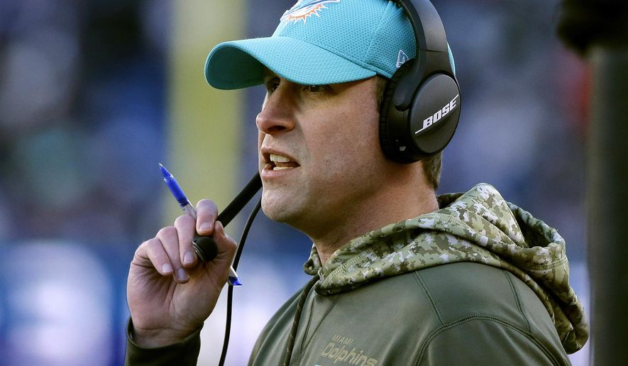 Miami Dolphins head coach Adam Gase watches from the sideline during the second half of an NFL football game against the New England Patriots, Sunday, Nov. 26, 2017, in Foxborough, Mass. (AP Photo/Steven Senne)