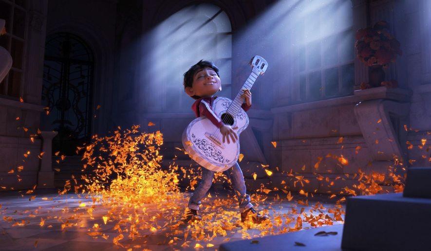 "This image released by Disney-Pixar shows characters Miguel, voiced by Anthony Gonzalez in a scene from the animated film, ""Coco."" (Disney-Pixar via AP)"