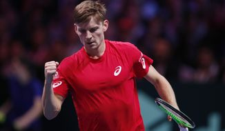 Belgium's David Goffin clenches his fist as he wins the second set against France's Jo-Wilfried Tsonga during their Davis Cup final single match at the Pierre Mauroy stadium in Lille, northern France, Sunday, Nov. 26, 2017. (AP Photo/Christophe Ena)
