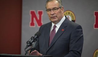 Nebraska athletic director Bill Moos speaking to the press about the firing of the head coach Mike Riley in Lincoln, Neb., Saturday, Nov. 25, 2017. (AP Photo/John Peterson)