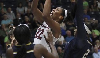 South Carolina's A'ja Wilson (22) shoots against Notre Dame's Jackie Young (5) and Notre Dame's Kristina Nelson, right, during the first half of an NCAA college basketball game at the Gulf Coast Showcase basketball tournament championship finals, Sunday, Nov. 26, 2017, in Estero, Fla. (AP Photo/Luis M. Alvarez)
