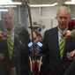 Sen. Ron Johnson, R-Wis., is surrounded by reporters as he goes to vote on Capitol Hill in Washington, Tuesday, Nov. 7, 2017. (AP Photo/Susan Walsh)