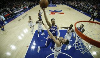 Philadelphia 76ers' Ben Simmons in action during an NBA basketball game against the Cleveland Cavaliers, Monday, Nov. 27, 2017, in Philadelphia. (AP Photo/Matt Slocum)