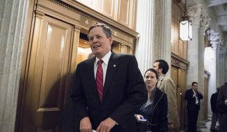 Sen. Steve Daines, R-Mont., a member of the Senate Appropriations Committee, arrives at the Senate floor for votes on Capitol Hill in Washington, Monday evening, Nov. 27, 2017. (AP Photo/J. Scott Applewhite) ** FILE **