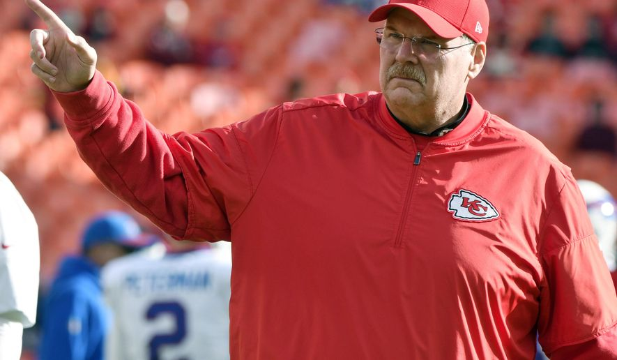 Kansas City Chiefs head coach Andy Reid gestures before an NFL football game against the Buffalo Bills in Kansas City, Mo., Sunday, Nov. 26, 2017. (AP Photo/Ed Zurga)