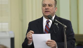 FILE - In this Thursday, May 4, 2017, file photo, Assemblyman Raul Bocanegra, D-Pacoima speaks at the Capitol, in Sacramento, Calif. Bocanegra is resigning immediately following multiple allegations of sexual misconduct. Legislative staffer Elise Flynn Gyore says Bocanegra put his hands inside her blouse at an after-work event at a Sacramento nightclub in 2009. Both were legislative staff members at the time. (AP Photo/Rich Pedroncelli, File)