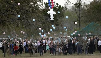 Balloons are released at a graveside service for members of the Holcombe family who were killed in the Sutherland Springs Baptist Church shooting, Wednesday, Nov. 15, 2017, in Sutherland Springs, Texas. A man opened fire inside the church in the small South Texas community Sunday, Nov. 5, killing more than two dozen. (AP Photo/Eric Gay)
