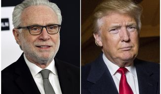 "This combination photo shows CNN's Wolf Blitzer at the Turner Network 2017 Upfront presentation in New York on May 17, 2017, left, and President Donald Trump at the Trump National Golf Club in Sterling, Va., on Dec. 2, 2015. CNN fought back Monday against Trump's latest attack, with anchor Blitzer saying that no matter how many insults, ""even the loudest critics can't silence the facts."" Over the weekend Trump took a shot at CNN International with a tweet that the network is a source of fake news and poorly represents the United States to the world. (AP Photo/File)"