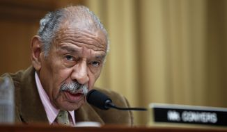 Rep. John Conyers, Michigan Democrat, speaks during a hearing of the House Judiciary subcommittee on Capitol Hill in Washington on April 4, 2017. (Associated Press) **FILE**