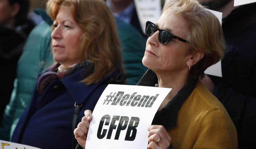 Sally Greenberg (right), with the National Consumers League expressed her views Monday about the latest constitutional crisis over the Consumer Financial Protection Bureau. (Associated Press)
