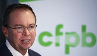 """Please disregard any instructions you receive from [Leandra] English in her presumed capacity as acting director,"" Mick Mulvaney told employees on his first day at the Consumer Financial Protection Bureau. (Associated Press)"