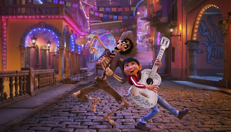 "In this image released by Disney-Pixar, character Hector, voiced by Gael Garcia Bernal, left, and Miguel, voiced by Anthony Gonzalez, appear in a scene from the animated film, ""Coco."" (Disney-Pixar via AP)"