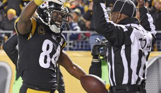 Pittsburgh Steelers wide receiver Antonio Brown (84) celebrates his touchdown catch in front of field judge Dale Shaw (104) during the second half of an NFL football game against the Green Bay Packers in Pittsburgh, Sunday, Nov. 26, 2017. (AP Photo/Don Wright)