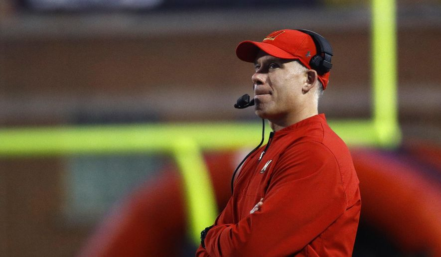 Maryland head coach DJ Durkin watches the first half of an NCAA college football game against Penn State in College Park, Md., Saturday, Nov. 25, 2017. (AP Photo/Patrick Semansky) **FILE**