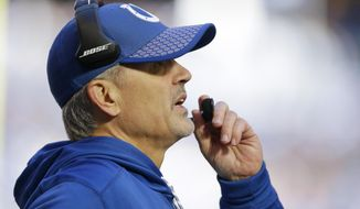 Indianapolis Colts head coach Chuck Pagano watches the first half of an NFL football game against the Tennessee Titans, Sunday, Nov. 26, 2017, in Indianapolis. (AP Photo/Michael Conroy)